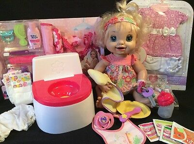 2007 Baby Alive Soft Face Learn To Potty Eats Pees Poops Talks Mega Lot!!!