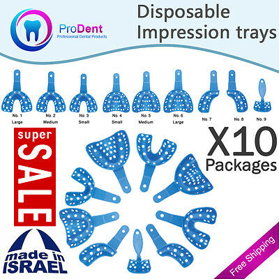 X10 Dental Plastic Disposable Impression Trays Perforated Autoclavable 9 Pcs