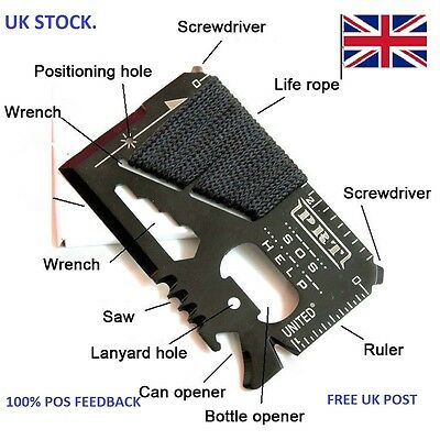 Credit card size multi tool with emergency rope FREE 1st Class post UK STOCK