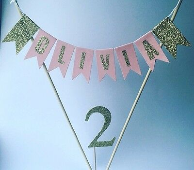 Pink And Gold Personalised 2nd Birthday Cake Bunting. Girls Birthday Cake Topper