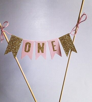 Pink And Gold 1st Birthday Cake Bunting One Today Cake Topper 1st Birthday Decor