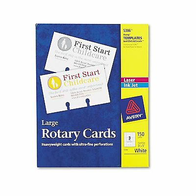 Avery 5386 Large Rotary Cards  Laser/Inkjet  3 x 5  3 Cards/Sheet  150 Cards/Box