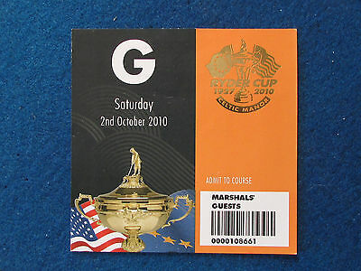 Ryder Cup 2010 - Celtic Manor - Marshal's Guest Ticket - 2/10/10