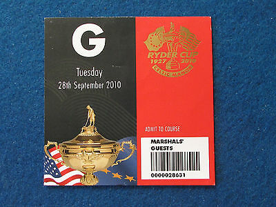 Ryder Cup 2010 - Celtic Manor - Marshal's Guest Ticket - 28/9/10