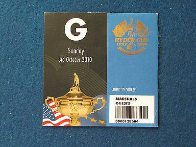 Ryder Cup 2010 - Celtic Manor - Marshal's Guest Ticket - 3/10/10