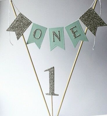 Boys 1st Birthday Cake Topper Cake Bunting Baby Boy Is One Blue And Silver