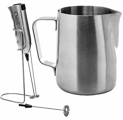 Ozeri OZMF2 Deluxe Stainless Steel Milk Frother and 12-Ounce Frothing Pitcher wi