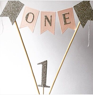 Girls 1st Birthday Cake Topper Cake Bunting Baby Boy Is One Pink And Silver