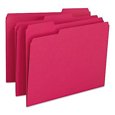 Smead 12743 File Folders  1/3 Cut Top Tab  Letter  Red  100/Box