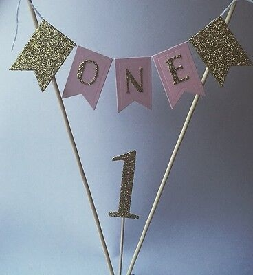 Pink And Gold 1st Birthday Cake Smash Topper Baby Girl First Birthday Bunting