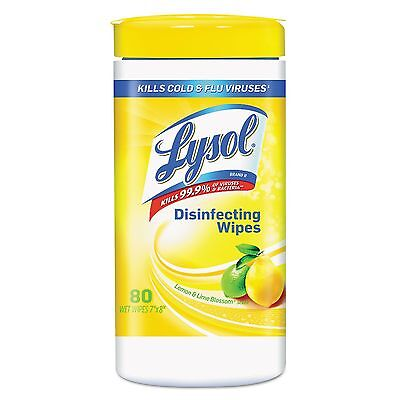 LYSOL Brand 77182CT Disinfecting Wipes Lemon and Lime Blossom White 7 x 8 80Can