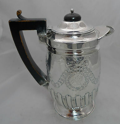 Victorian Crested Silver Jug Hawksworth Eyre & Co London 1897 413g 18cm