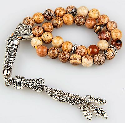 Pressed Amber, Islamic Prayer Beads tesbih, 33 beads 9mm, Tasbih Misbaha Masbaha