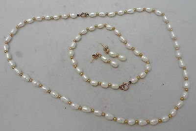 9ct Gold & Fresh Water Pearl Necklace Bracelet & Drop Earrings 41.5cm
