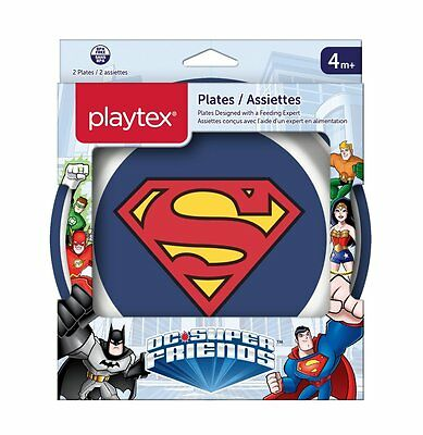 Playtex DC Superfriends Batman and Superman Kids Mealtime Plates, Mixed Pack of