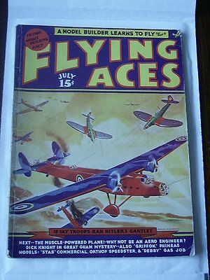 FLYING ACES Jul 1939 August Schomburg cover G American Pulp