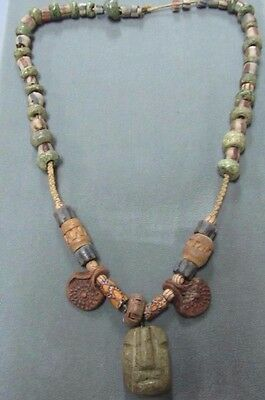 Pre Columbian Necklace Chevron African Trade Bead Ancient Mayan Jade Exquisite