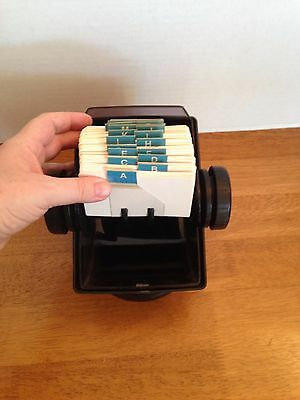 """ROLODEX  2 1/4"""" X 4"""" Cards Swivel Base Translucent Dust Cover Black with Cards"""