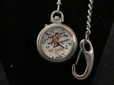 Vintage Taz Tasmanian Devil Warner Bros 1996 Amitron Musical Pocket Watch Looney