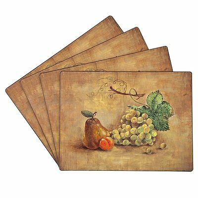 Benson Mills Cork Placemats, Pears&Grapes, Set of 4
