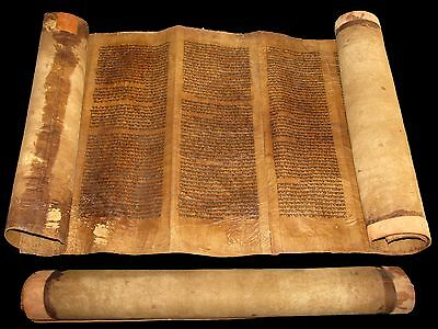 SPANISH TORAH SCROLL BIBLE MANUSCRIPT VELLUM LEAF  Spain 400-450 YRS Very rare