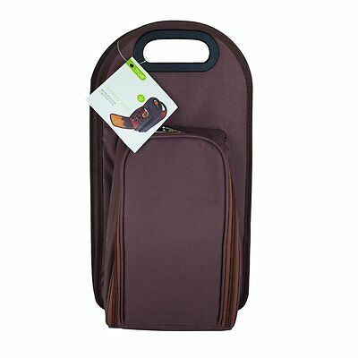 True Fabrications 2427 Brown Metropolitan Tote and Picnic Set with 2-Wine Bottle