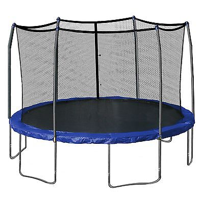 Skywalker Trampolines 15-Foot Round and Enclosure with Spring Pad, Blue