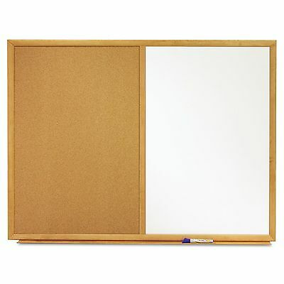Quartet S553 Bulletin/Dry-Erase Board  Melamine/Cork  36 x 24  White/Brown  Oak