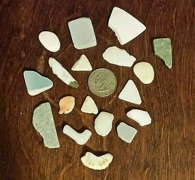 Lot of 18 tumbled beach glass pottery variety from puerto rico