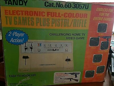 MEGA RARE 1977 Tandy Tv Games System & Pistol/Rifle Colour 2 Player - FAST POST