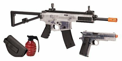 Crosman Commando Airsoft Spring Powered, Rifle and Pistol Kit, Clear/Black