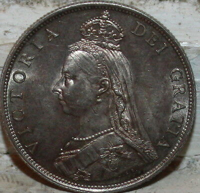 Great Britain 1887 DOUBLE FLORIN Victoria Uncirculated .9250 Silver