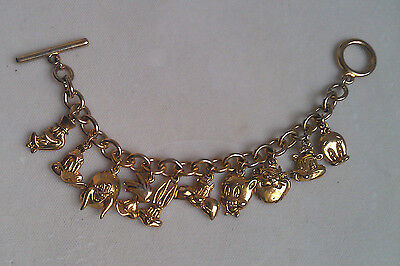 Warner Brothers Looney Tunes Characters Charm Bracelet 1992 Gold Tone
