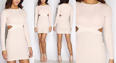 New Ladies womens Karina Nude Ribbed Cut Out Bodycon Dress Size 8,10