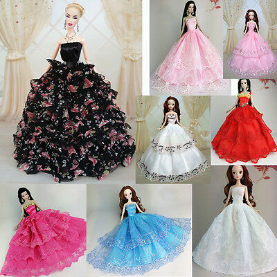 Handmade Wedding Gown Dresses Girl Party For Barbie Doll Gorgeous