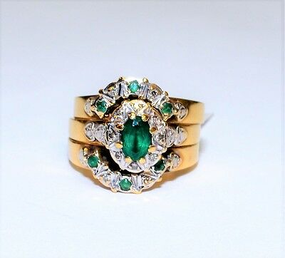 9k Yellow Gold Oval Green Stone & Diamond 3x Ring Bridal Set Engagement #730331