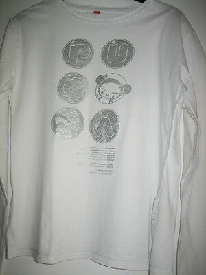 PUCCA뿌까 Tee Shirt Manches Longues Taille L Blanc Coutures Apparentes Fil Argent