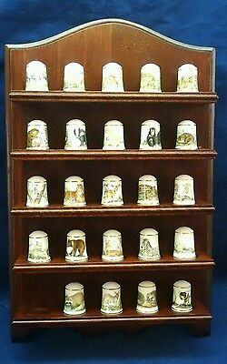 Franklin Porcelain Fine Bone China Thimbles set of 25 with Wall Display Rack