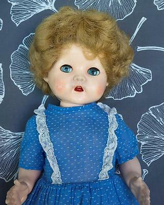 "Pedigree Doll 15"" Walker Made In England Vintage Blue Dress Good Condition"