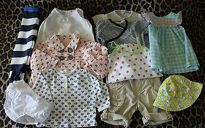 LOT 11 Pcs Baby Girls 00 3-6mths ~ Petit Bateau Country Road Gap Purebaby George