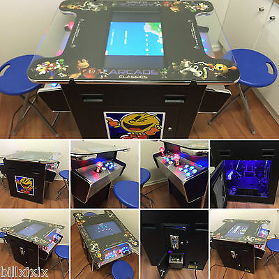 New Arcade Cocktail Machine Game With Stainles Steel Control Panel + 2 Stools