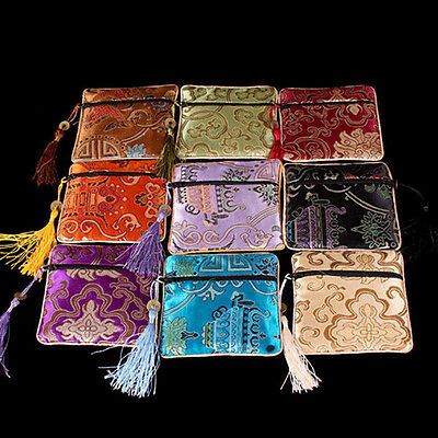 10X Mix Colors Chinese Zipper Coin Tassel Silk Square Jewelry Bags Pouches Nice
