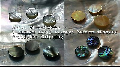 "3 Trumpet Finger Button Inserts/Inlay Mother of Pearl Abalone 12.8mm (.5"") 13.8"