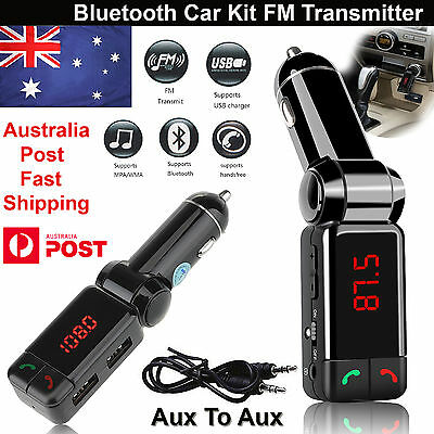 Bluetooth Car Kit MP3 Player FM Transmitter Car Charger USB for Samsung iPhone