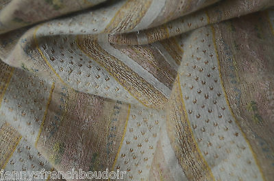 Antique French woven linen brocade fabric, beige, cream and soft pink