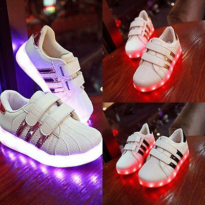 Charge Led Kids Children Boys Girls Light Up Sneakers Walk Flat Shoes Trainer UK