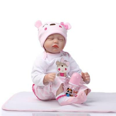 Lovely 18'' Lifelike Newborn Reborn Baby Dolls Soft Silicone Sleepping panda Boy