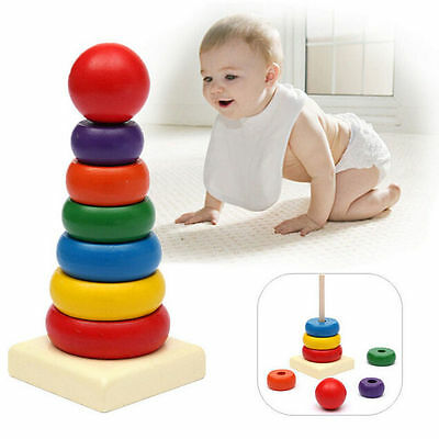 Tower Kids Stack Rainbow Up Play Ring Educational Toys Baby Wooden Stacking Toy