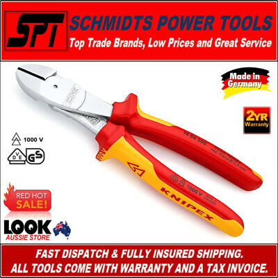 """KNIPEX ELECTRICIANS DIAGONAL PLIERS INSULATED VDE 1000V 8"""" 210mm 7406200"""