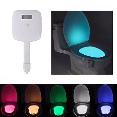 LED 8 Color Night Light Body Motion Sensor Automatic Toilet Seat Bowl Bathroom`